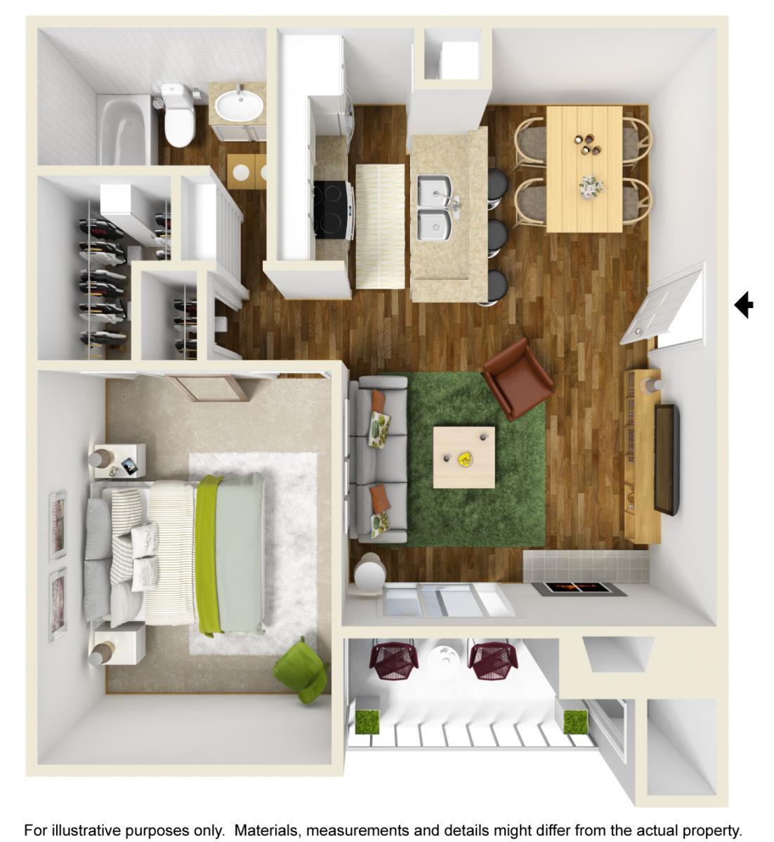 609 sq. ft. A-2 floor plan