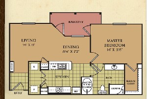810 sq. ft. A3A floor plan