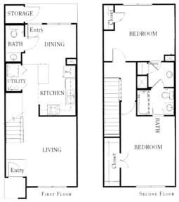 1,127 sq. ft. B22/60% floor plan
