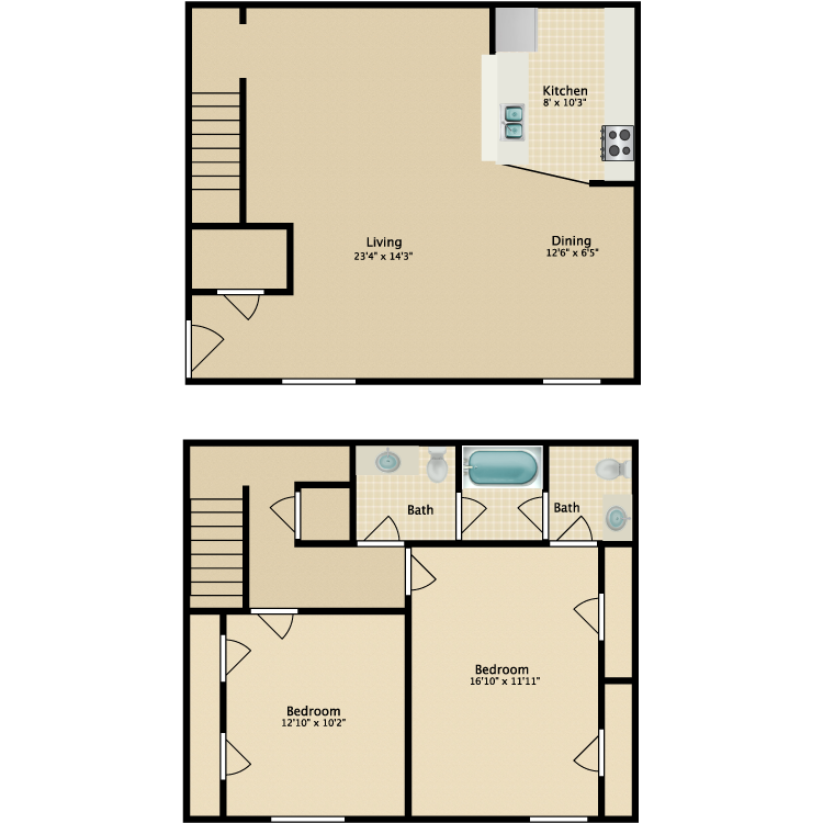 1,296 sq. ft. B4 floor plan