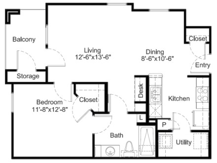 705 sq. ft. A3 floor plan