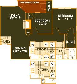 871 sq. ft. CYPRESS/B1 floor plan