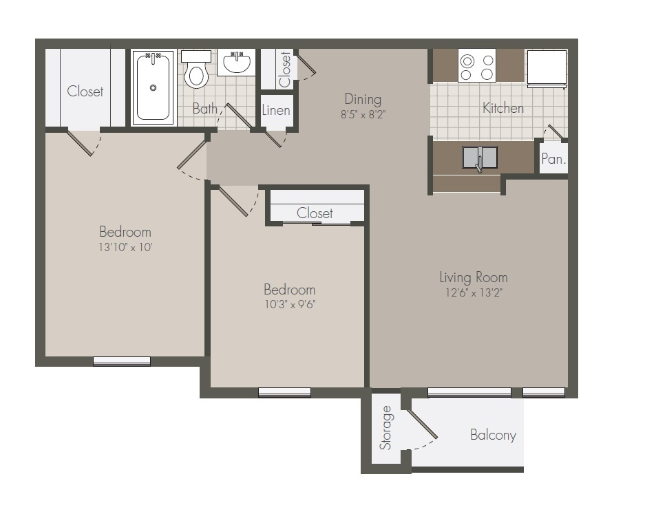 746 sq. ft. B floor plan