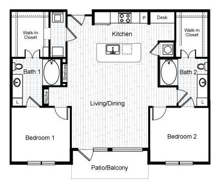 1,195 sq. ft. B1.1 floor plan