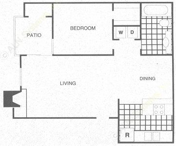 656 sq. ft. A2 floor plan