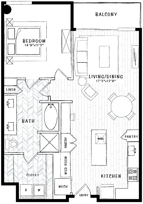 886 sq. ft. A6A floor plan