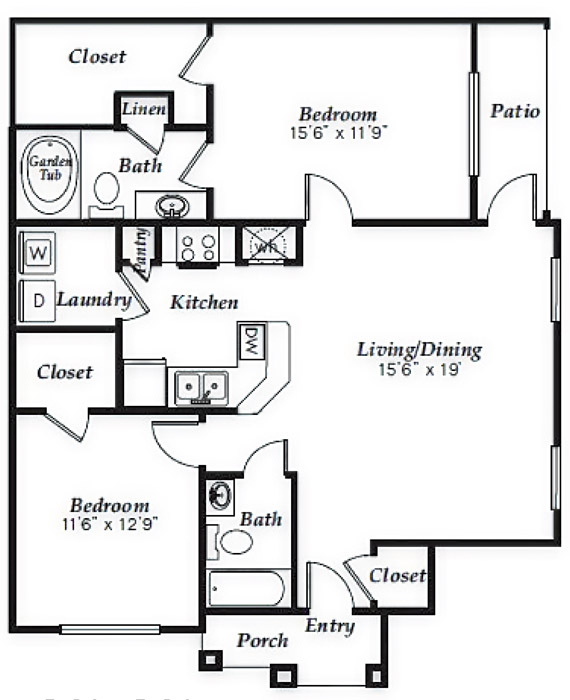 1,096 sq. ft. to 1,149 sq. ft. B2 floor plan