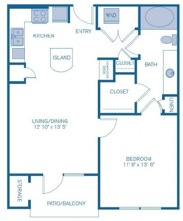 723 sq. ft. to 945 sq. ft. E1 floor plan