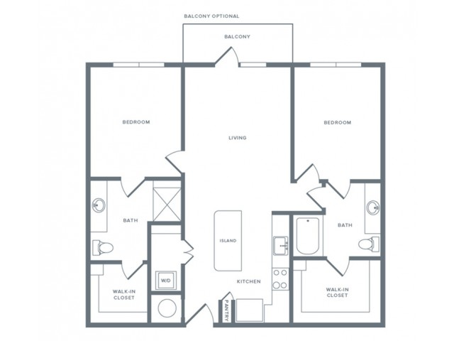 1,128 sq. ft. B2 floor plan