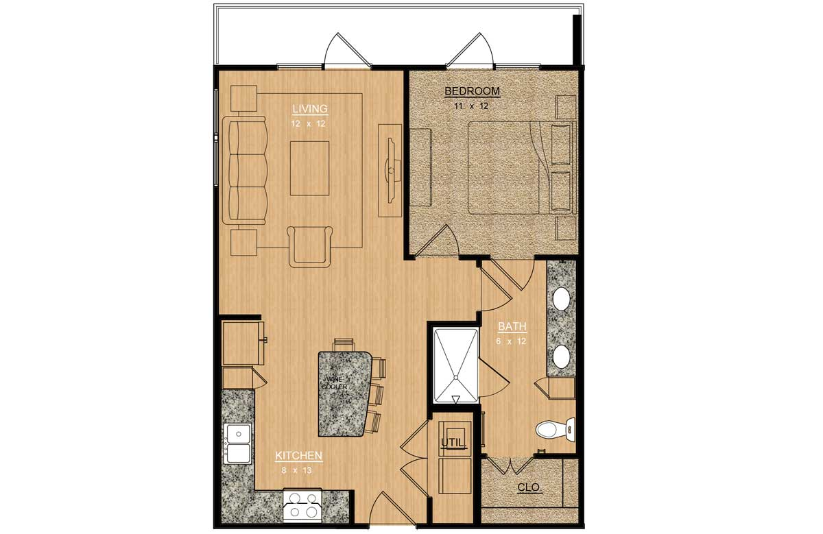 720 sq. ft. Freesia floor plan