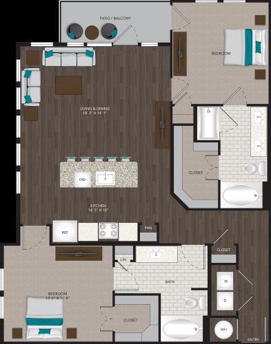 1,230 sq. ft. B4 floor plan