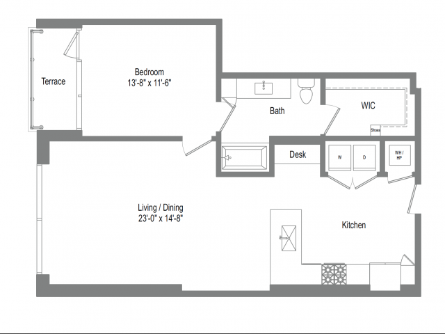 938 sq. ft. A7 floor plan