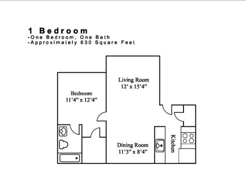 630 sq. ft. 1.1 floor plan