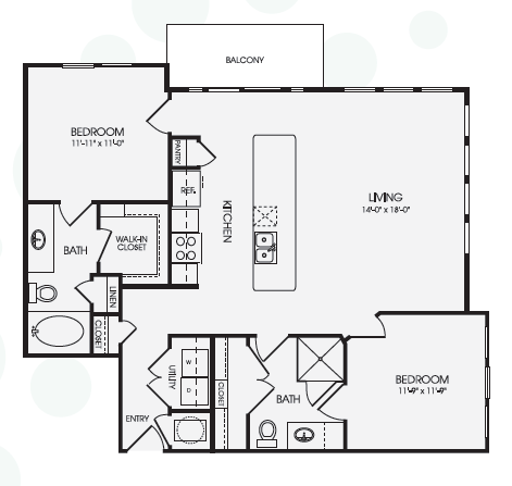1,124 sq. ft. Park Lane/B2 floor plan