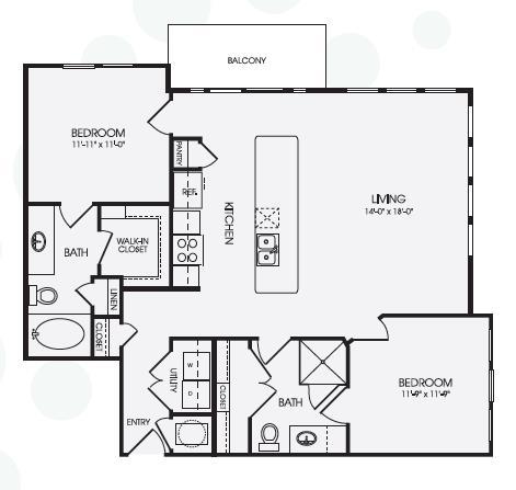 1,124 sq. ft. Park Lane/B2 floor plan