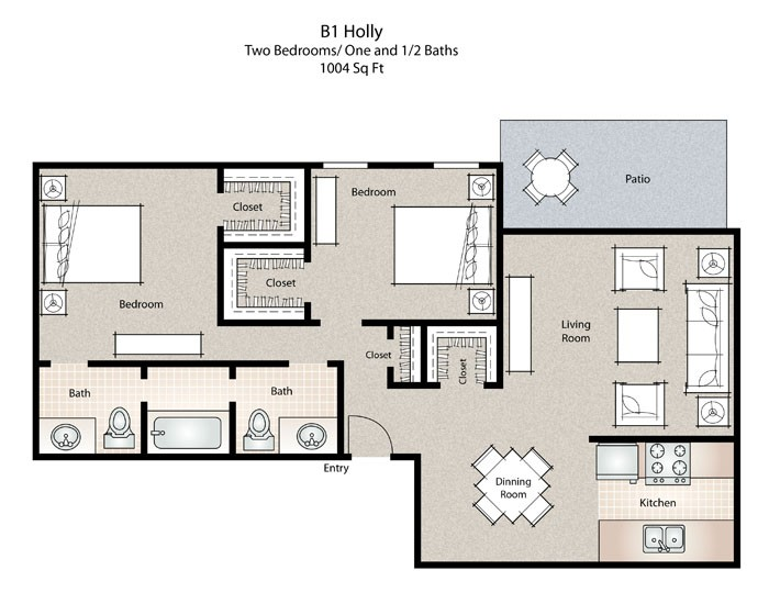 1,004 sq. ft. Holly floor plan