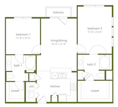 1,104 sq. ft. B1 floor plan