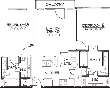 910 sq. ft. floor plan