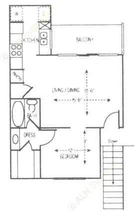 570 sq. ft. Live Oak floor plan