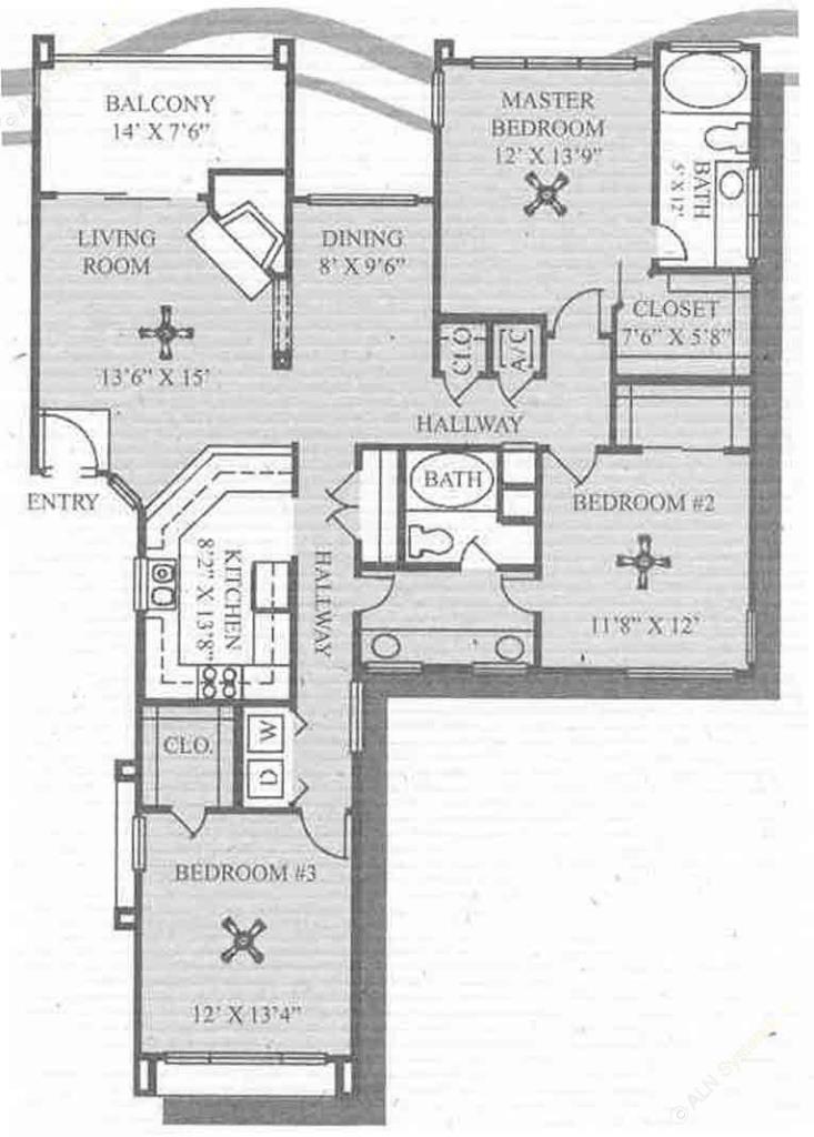 1,428 sq. ft. C1 floor plan