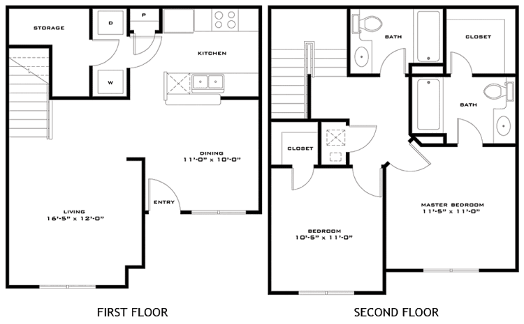 1,027 sq. ft. Bailey 60% floor plan