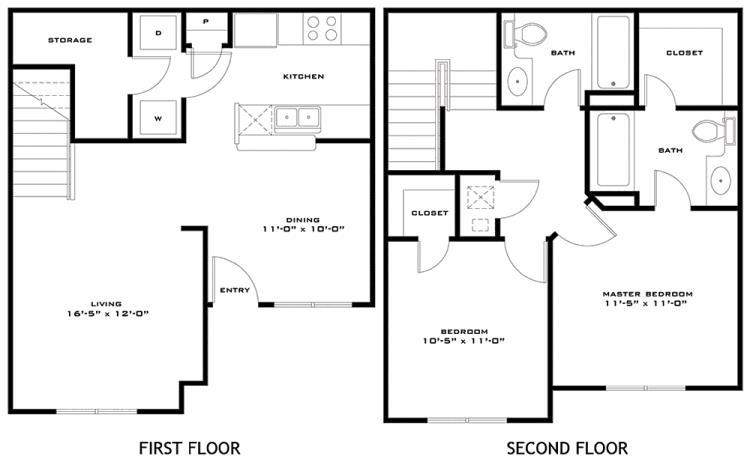 1,027 sq. ft. Bailey 60% floor plan