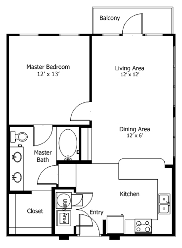 750 sq. ft. to 955 sq. ft. 5a5 floor plan