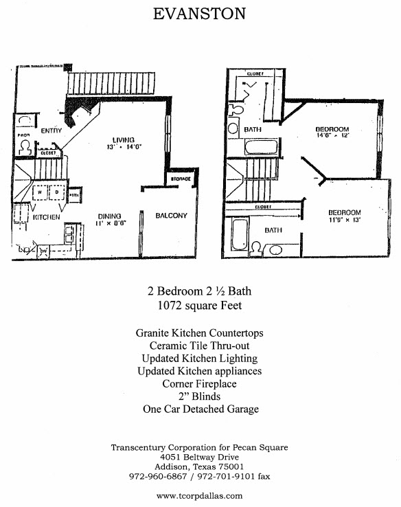 1,072 sq. ft. Evanston floor plan