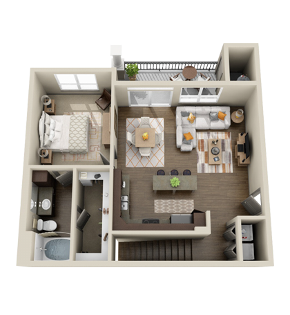 826 sq. ft. A3B floor plan