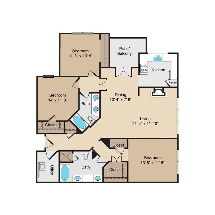 1,400 sq. ft. C floor plan