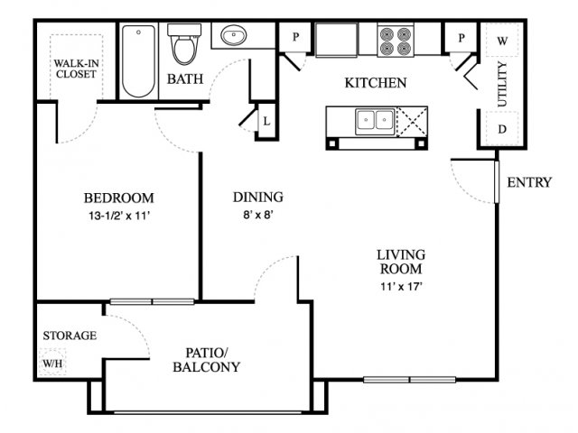 705 sq. ft. Cabon floor plan
