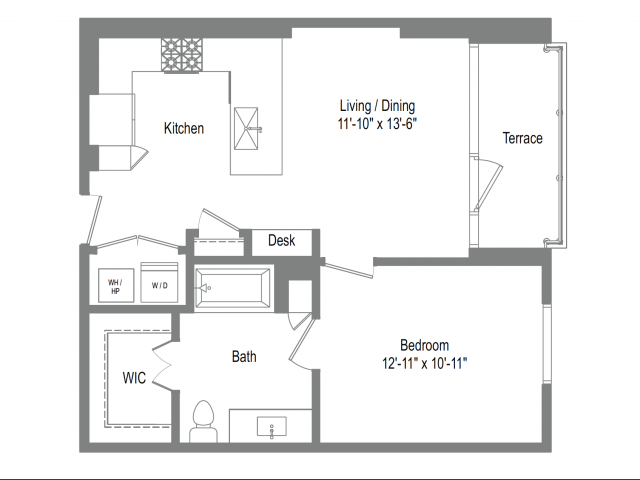 703 sq. ft. A2 floor plan