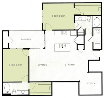 1,406 sq. ft. B3 floor plan