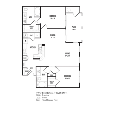 1,088 sq. ft. Bellagio floor plan