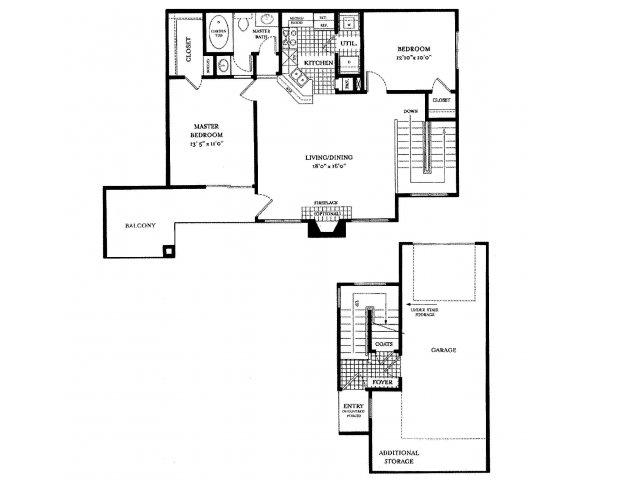 1,022 sq. ft. PORTOFINO floor plan
