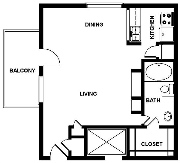 588 sq. ft. ALLEN floor plan
