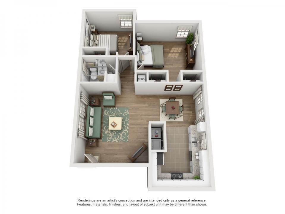 922 sq. ft. D floor plan