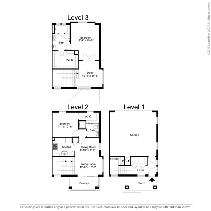 1,223 sq. ft. B1-A floor plan