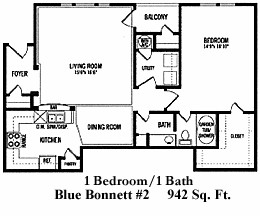 942 sq. ft. A2 floor plan