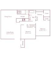 898 sq. ft. B floor plan