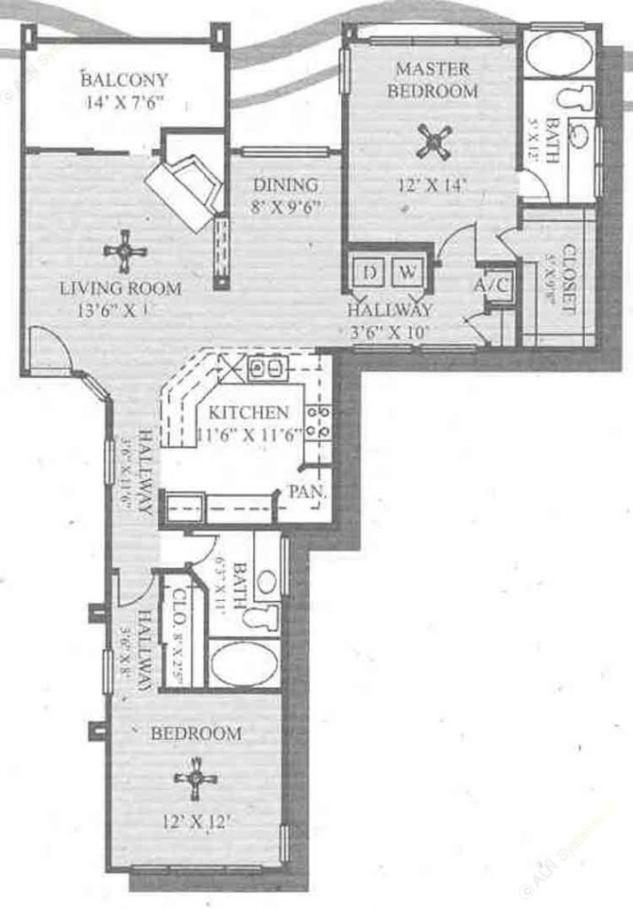 1,230 sq. ft. Riviera floor plan