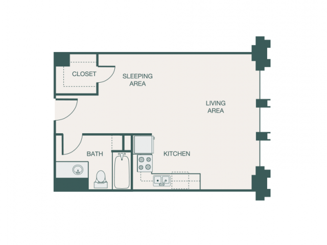 502 sq. ft. I/I2A floor plan