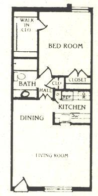 680 sq. ft. A-3 floor plan