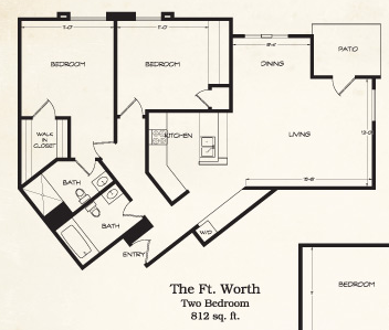 812 sq. ft. Ft Worth floor plan