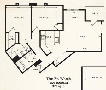 812 sq. ft. Ft Worth floor plan