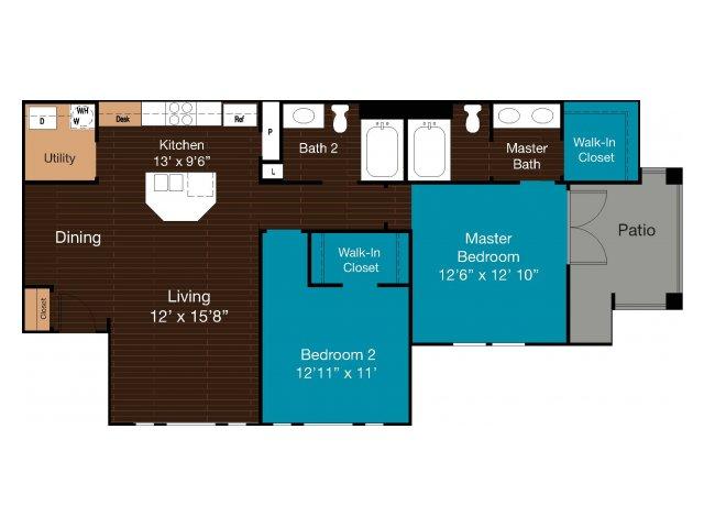 1,096 sq. ft. B2 floor plan