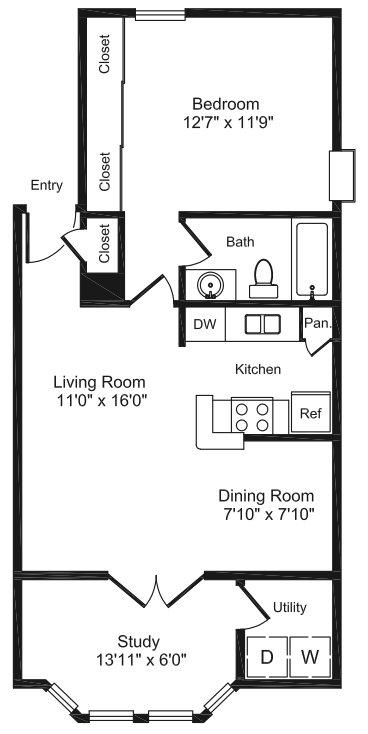 772 sq. ft. C1 floor plan