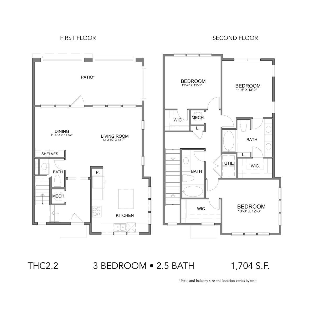 1,704 sq. ft. THC2.2 floor plan