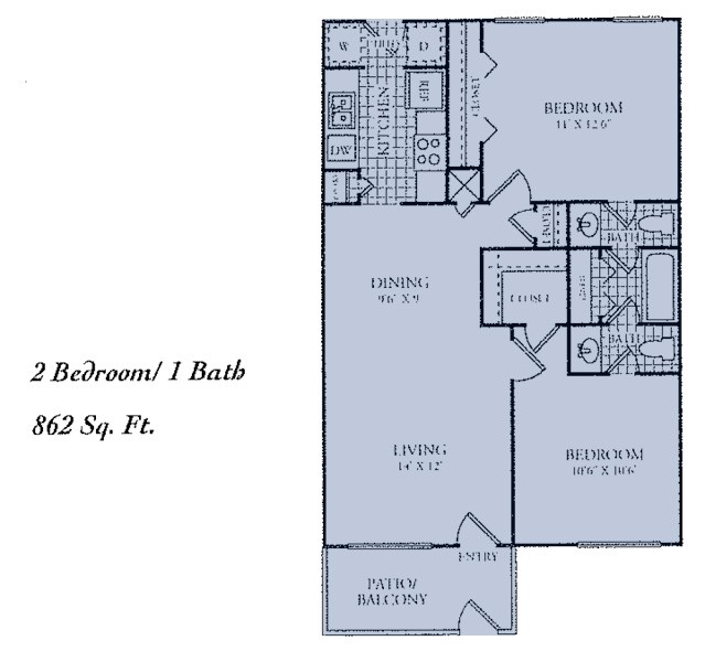 862 sq. ft. E floor plan