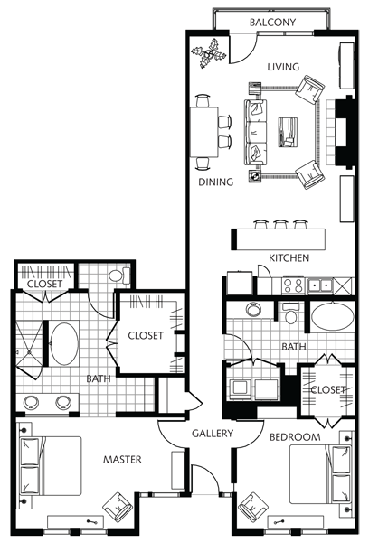 1,527 sq. ft. to 1,750 sq. ft. A-6.2 floor plan